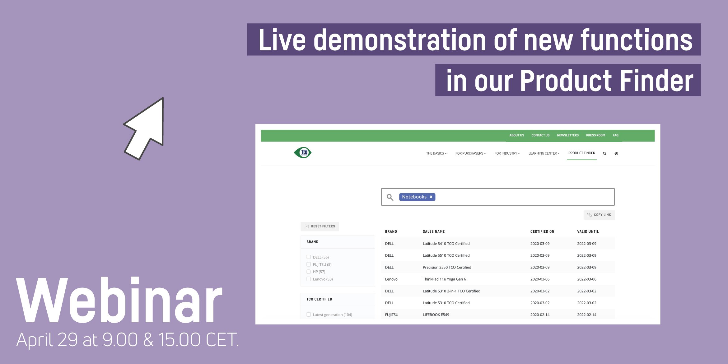 Webinar: Live demonstration of new functions in our Product Finder